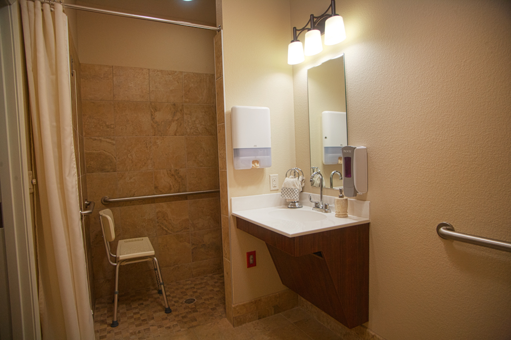 Private bath in luxurious private room at Treviso nursing home